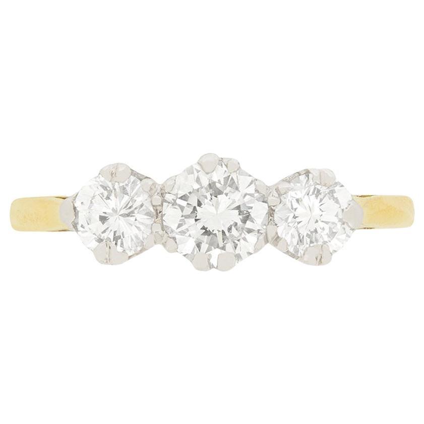 Late Art Deco 1.10 Carat Diamond Three-Stone Engagement Ring, circa 1940s