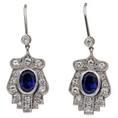 Late Art Deco 1.40 Carat Verneuil Sapphire 1.10 Carat Diamond Drop Earrings