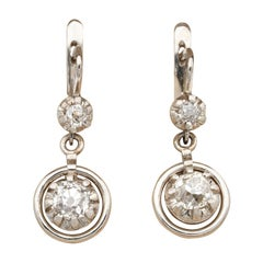 Late Art Deco 1.64 Carat Old Mine Cut Diamond Target Drop Earrings