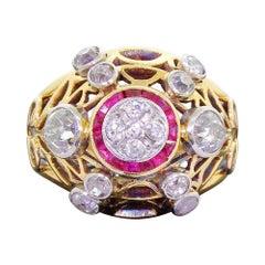 Late Art Deco 18 Karat Gold Cocktail Ring Ruby and Gray European Cut Diamonds