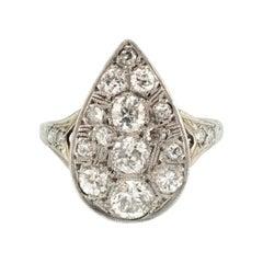 Late Art Deco 18 Karat White Gold 1.50 Carat Diamond Ring