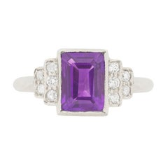 Late Art Deco 1.85 Carat Amethyst and Diamond Cocktail Ring, circa 1940s