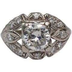 Late Art Deco 1.88 Carat Round Transition Cut Diamond Platinum Ring
