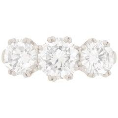 Late Art Deco 2.80 Carat Diamond Three-Stone Engagement Ring, circa 1940s