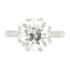 Late Art Deco 4.23 Carat Old Cushion Cut Diamond Engagement Ring, circa 1930s