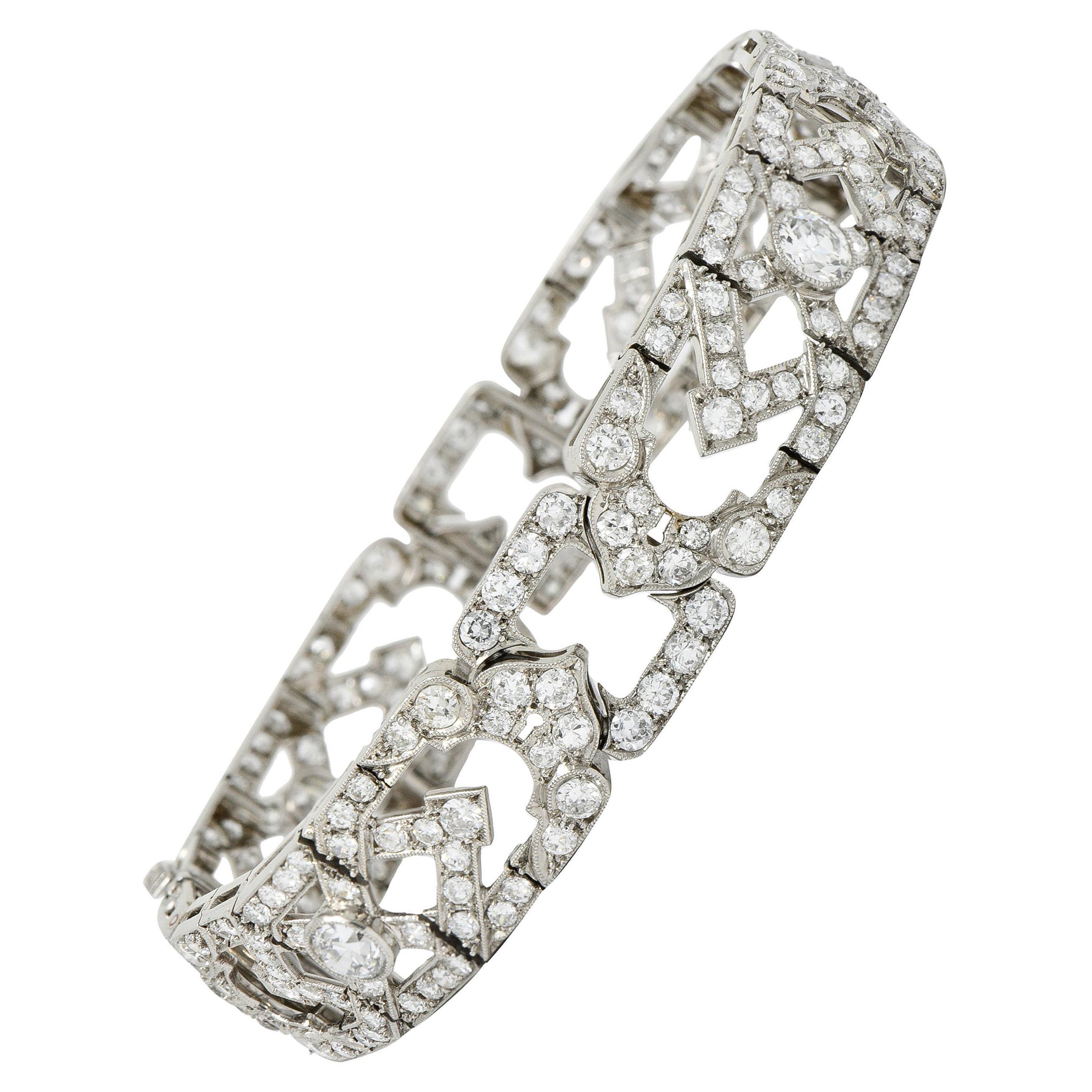 Late Art Deco 9.00 Carats Diamond Platinum Wide Line Bracelet, Circa 1930