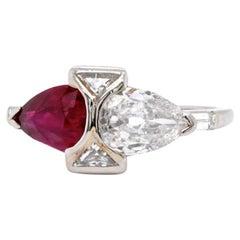 Late Art Deco AGL Burma No Heat Ruby Diamond Platinum Ring