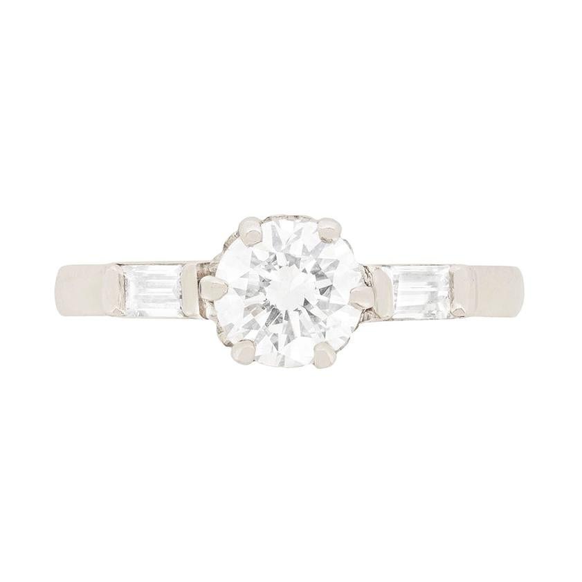 Late Art Deco Diamond Solitaire Engagement Ring, circa 1930s
