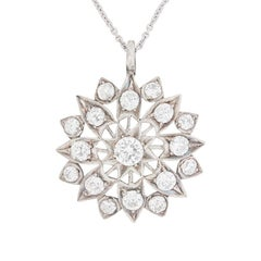 Late Art Deco Diamond Star Necklace Pendant, circa 1930s