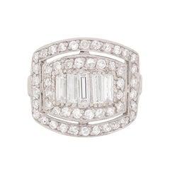 Late Art Deco Diamond White Gold Platinum Cluster Ring, circa 1930s