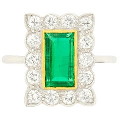 Late Art Deco Emerald and Diamond Cluster Ring, circa 1930s