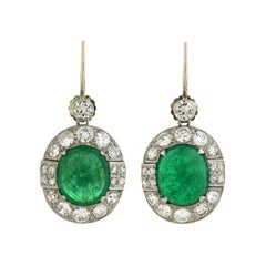 Late Art Deco Emerald Diamond Drop Earrings