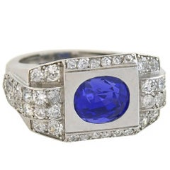 Late Art Deco French AGL Certified 4.30ct Natural Ceylon Sapphire Diamond Ring