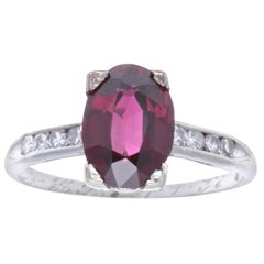 Late Art Deco Garnet Diamond Platinum Ring