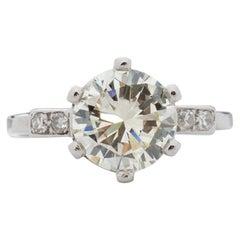 Late Art Deco GIA 2.0 Carat Transitional Cut Diamond Platinum Solitaire Ring