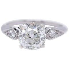 Late Art Deco GIA 2.12 Carat Old Mine Cut Diamond Platinum Ring