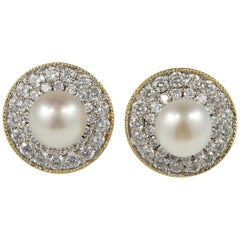 Late Art Deco Natural Pearl Diamond Night Day Stud Earrings