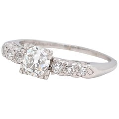 Late Art Deco Old European Cut Diamond Platinum Engagement Ring