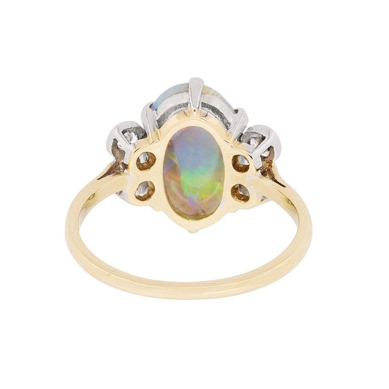 Women's or Men's Late Art Deco Opal and Diamond Dress Ring, circa 1940s For Sale