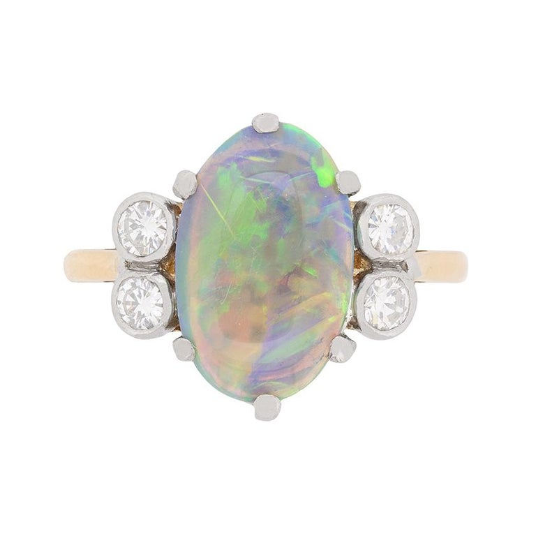 Late Art Deco Opal and Diamond Dress Ring, circa 1940s For Sale