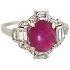 Late Art Deco Platinum 4.20 Carat Star Ruby and Diamond Ring