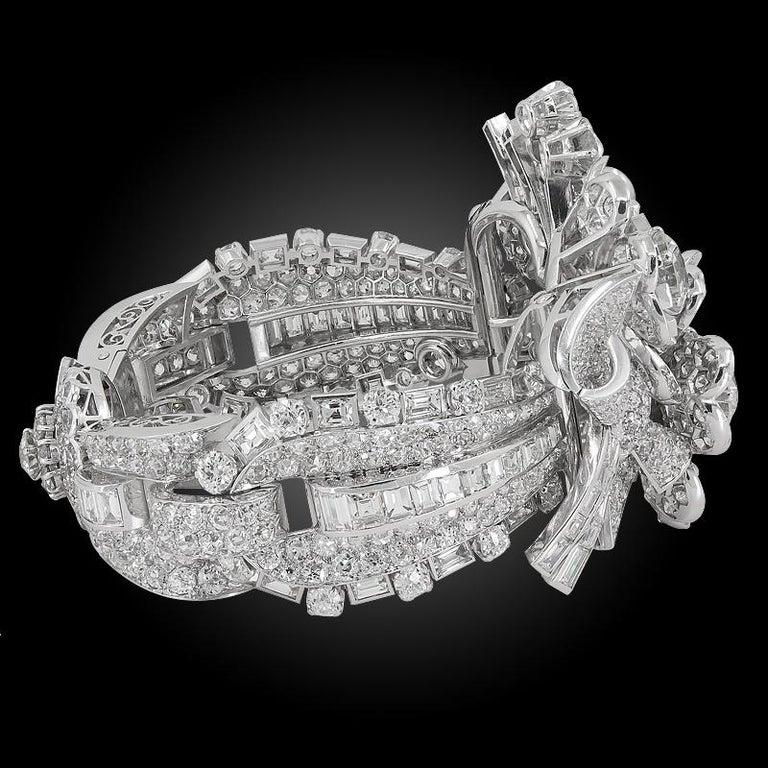 Women's or Men's Late Art Deco Platinum Diamond Bracelet For Sale