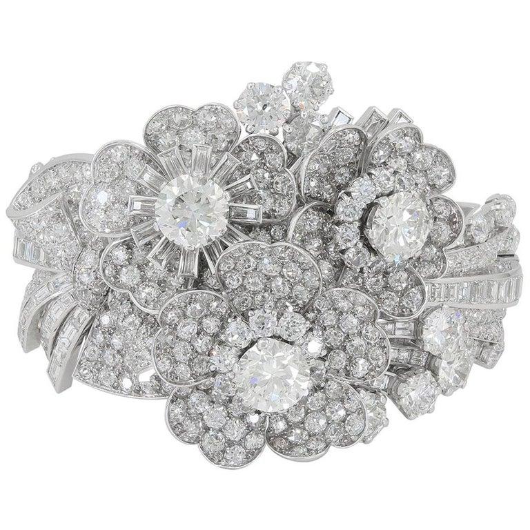 Late Art Deco Platinum Diamond Bracelet For Sale