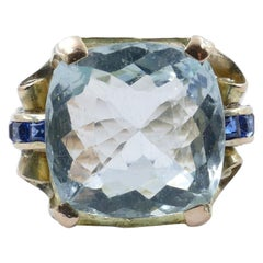 Late Art Deco Rose or Yellow Gold Large Aquamarine and Sapphire Cocktail Ring