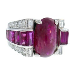 Late Art Deco Ruby Diamond Platinum Ring, 1930s Early Retro