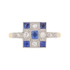 Late Art Deco Sapphire Diamond Yellow Gold Cluster Ring, circa 1930s