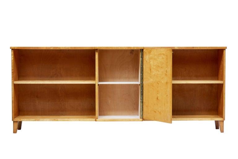 Später Art Deco Skandinavische Birke Niedriges Bücherregal 3