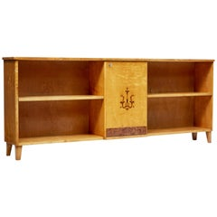 Late Art Deco Scandinavian Birch Inlaid Low Bookcase