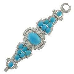 Late Art Deco Trabert & Hoeffer-Mauboussin Bracelet Platinum Turquoise Diamond