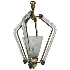 """Late Art Deco Venini Lantern in """"Filigrana"""" Murano Glass Carlo Scarpa Attributed"""