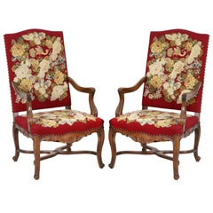 Late Baroque Style Pair of Armchairs in Needlepoint Embroidery Upholstery