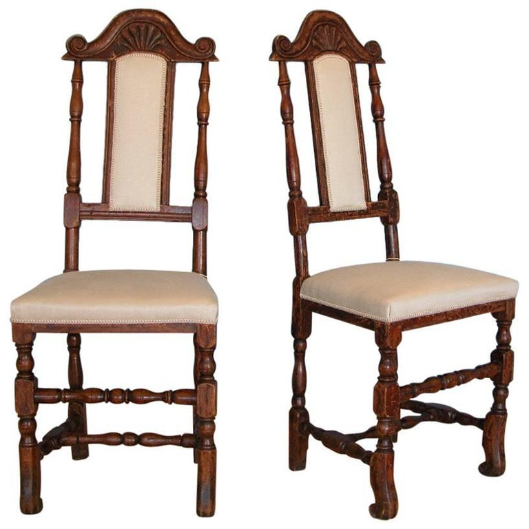 A Pair of Late Baroque Swedish Chairs, Origin: Sweden, Circa 1750-1760 For Sale