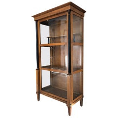 Late Biedermeier Column Vitrine Bookcase Cherrywood