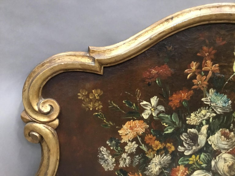 Late 18th Century Dutch Still Life Oil Painting of Unusual Cartouche Shape For Sale 5
