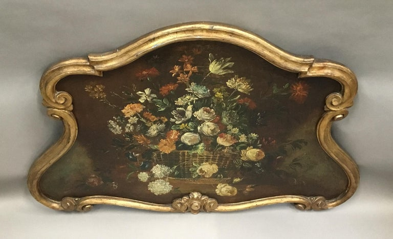 Late 18th Century Dutch Still Life Oil Painting of Unusual Cartouche Shape For Sale 6