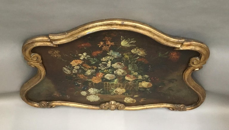 Late 18th Century Dutch Still Life Oil Painting of Unusual Cartouche Shape For Sale 7