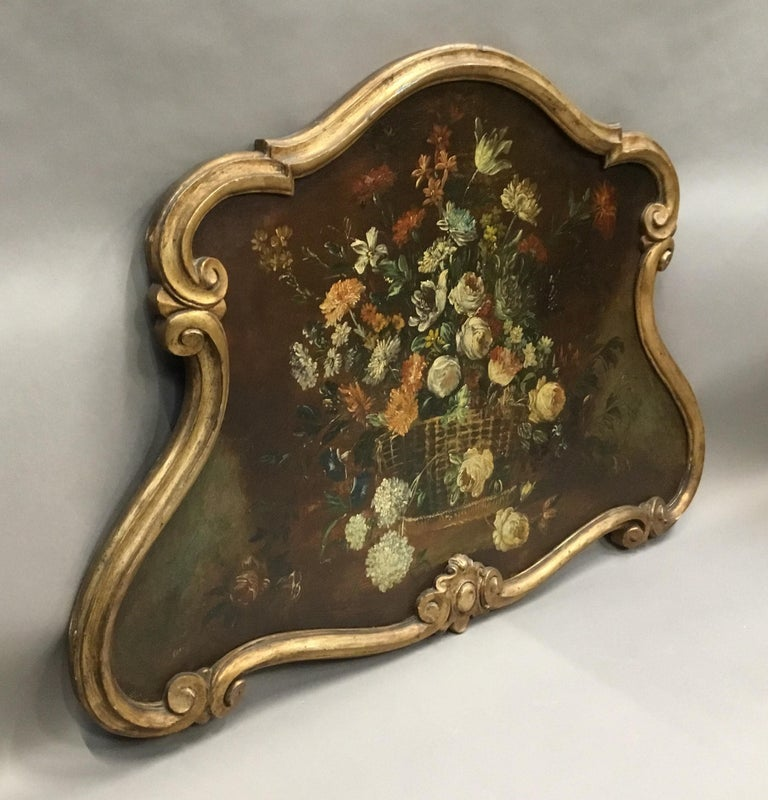 Painted Late 18th Century Dutch Still Life Oil Painting of Unusual Cartouche Shape For Sale