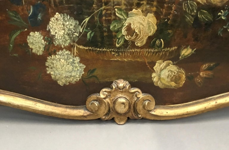 Canvas Late 18th Century Dutch Still Life Oil Painting of Unusual Cartouche Shape For Sale