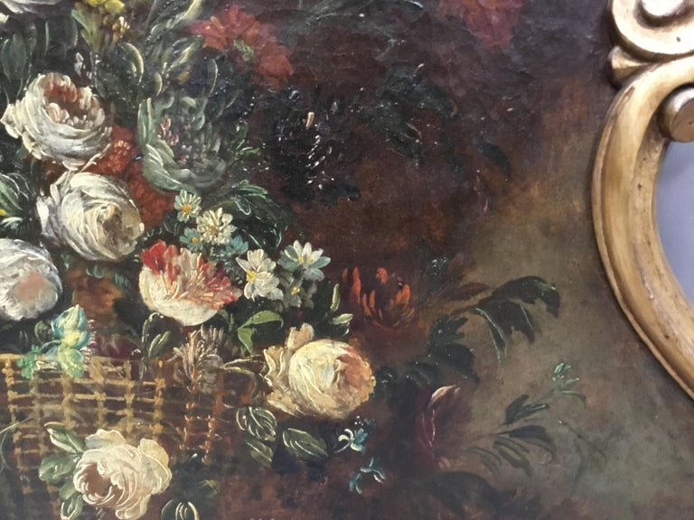 Late 18th Century Dutch Still Life Oil Painting of Unusual Cartouche Shape For Sale 3
