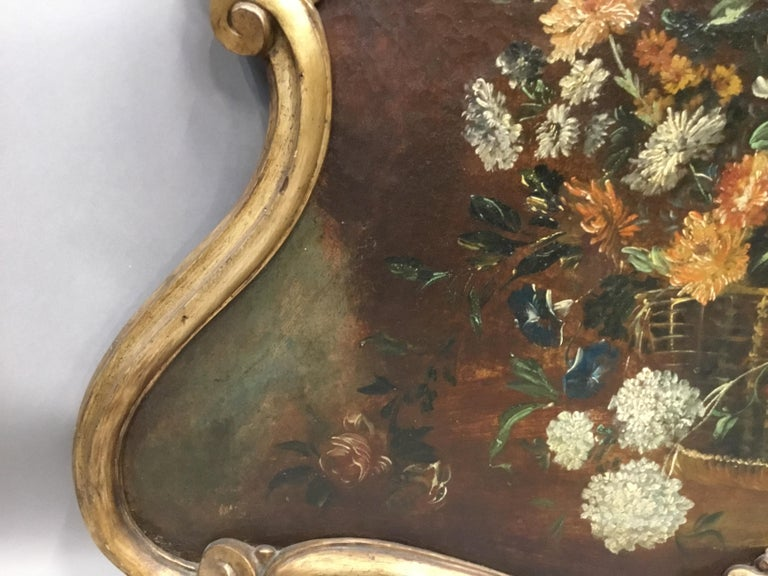 Late 18th Century Dutch Still Life Oil Painting of Unusual Cartouche Shape For Sale 4