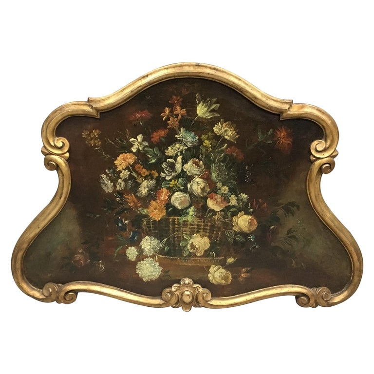 Late 18th Century Dutch Still Life Oil Painting of Unusual Cartouche Shape For Sale