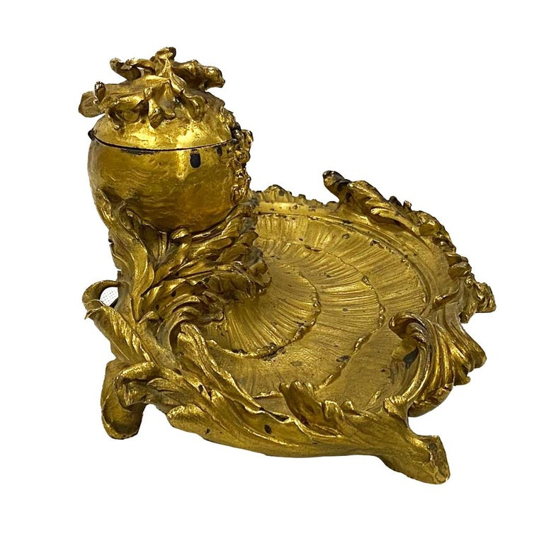 Louis XIV Late 19th Century 'Somani' Ormolu Inkwell For Sale