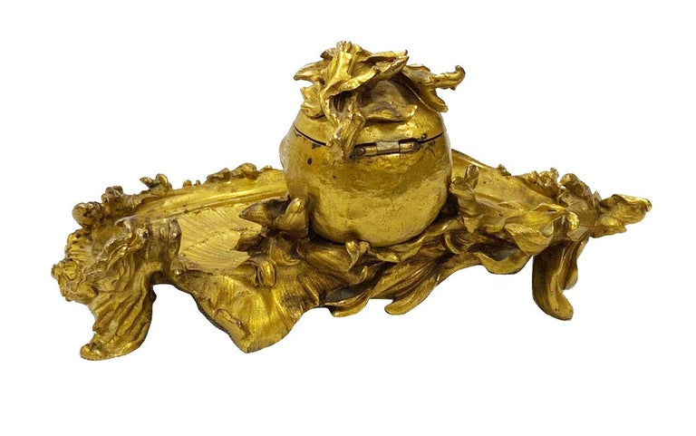 Gilt Late 19th Century 'Somani' Ormolu Inkwell For Sale