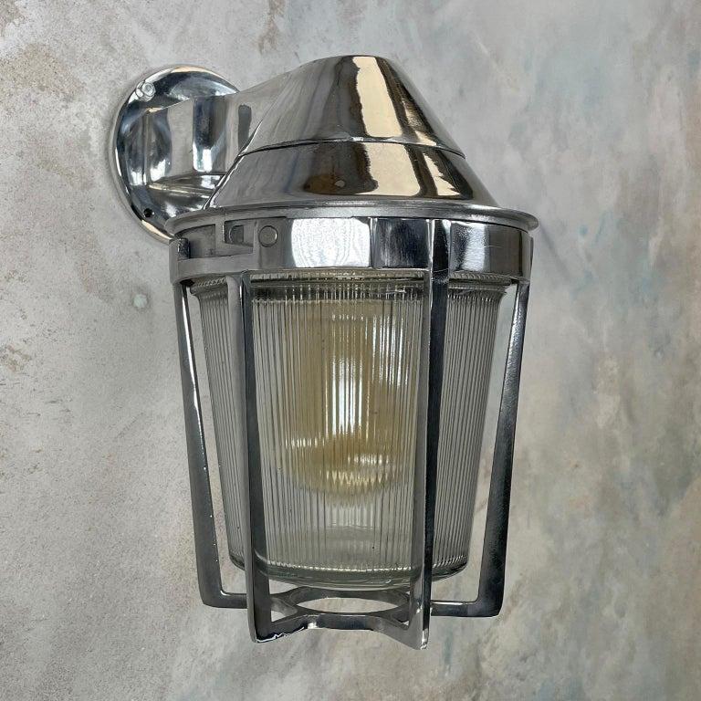Late Century American Cast Aluminum Sconce, Appleton Electric, Prismatic Glass For Sale 5