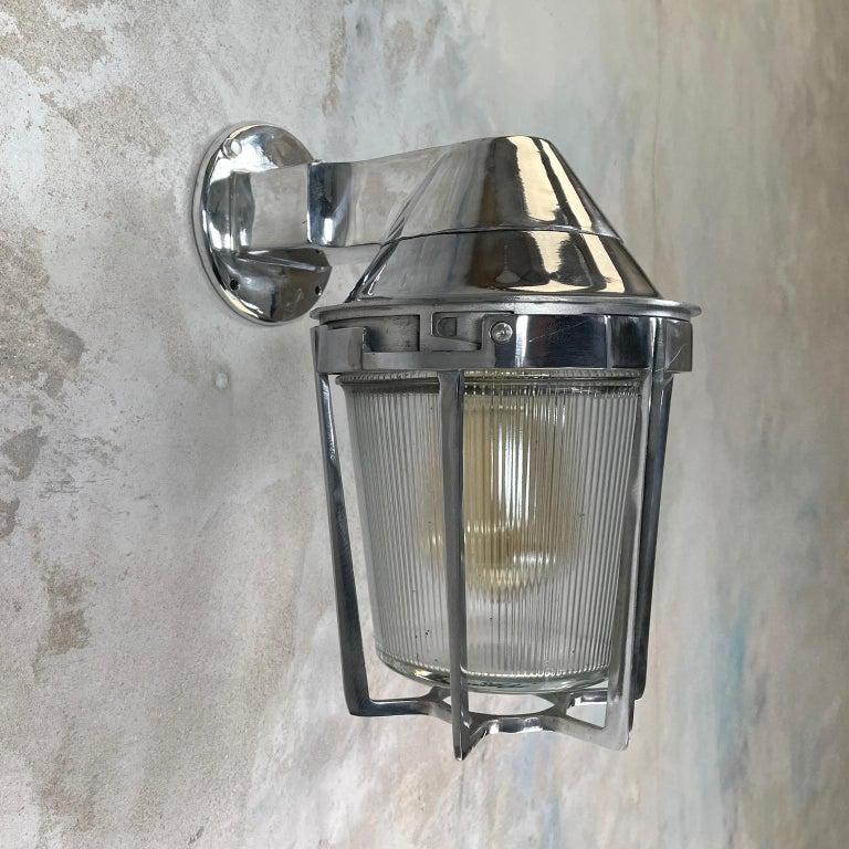 Late Century American Cast Aluminum Sconce, Appleton Electric, Prismatic Glass For Sale 6