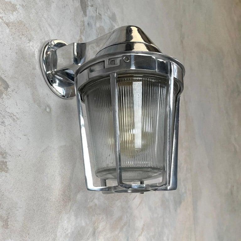 Late Century American Cast Aluminum Sconce, Appleton Electric, Prismatic Glass For Sale 7